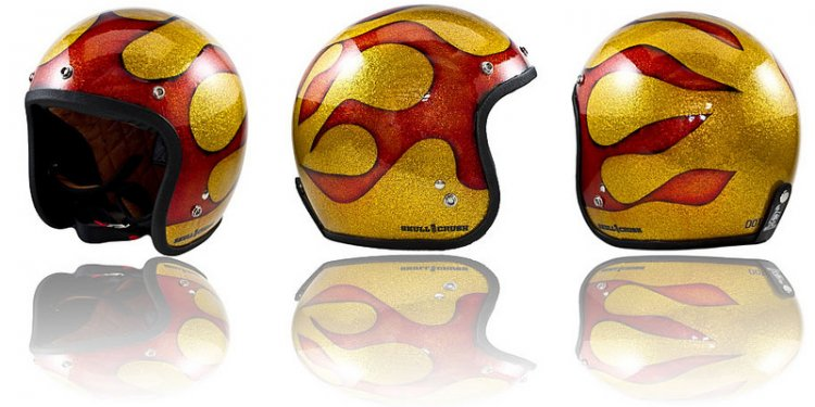 Metal Flake Flame Job Helmet