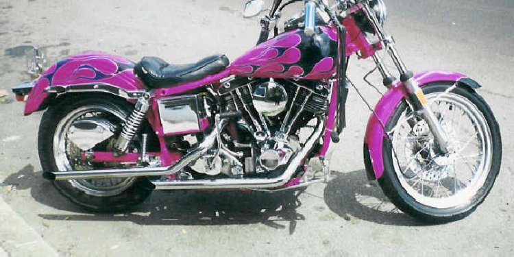 Motorcycle Flames Black On Pink complete rs